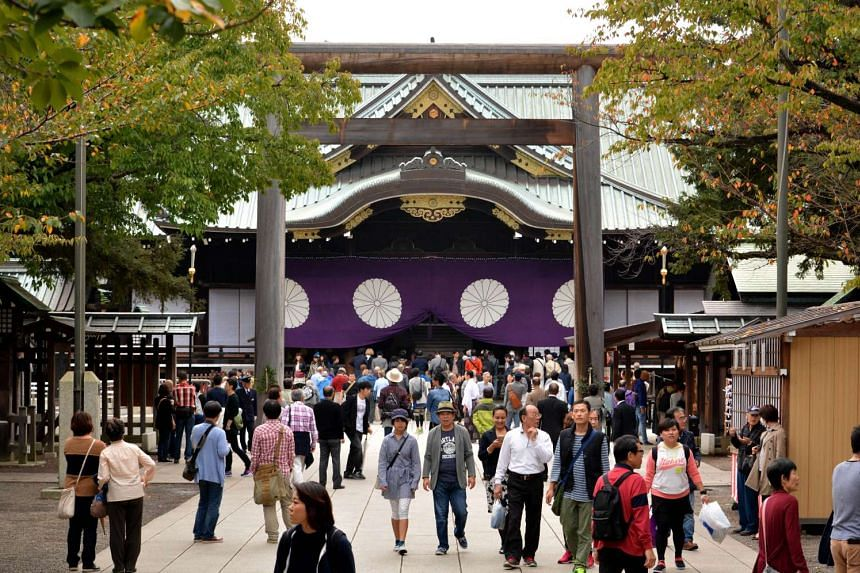 The controversial Yasukuni shrine during its autumn festival in Tokyo on Oct 17, 2015.