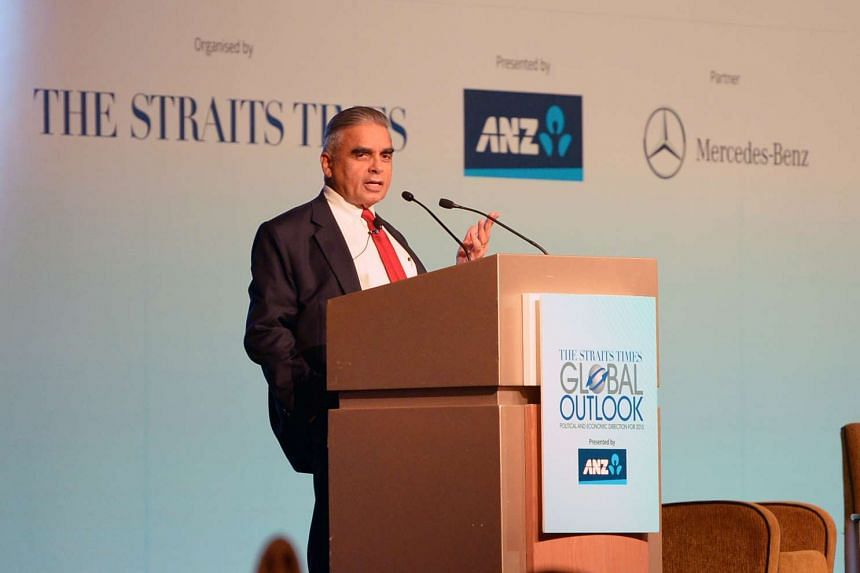 Professor Kishore Mahbubani, dean of the Lee Kuan Yew School of Public Policy speaking at The Straits Times Global Outlook Forum on 21 November 2014.
