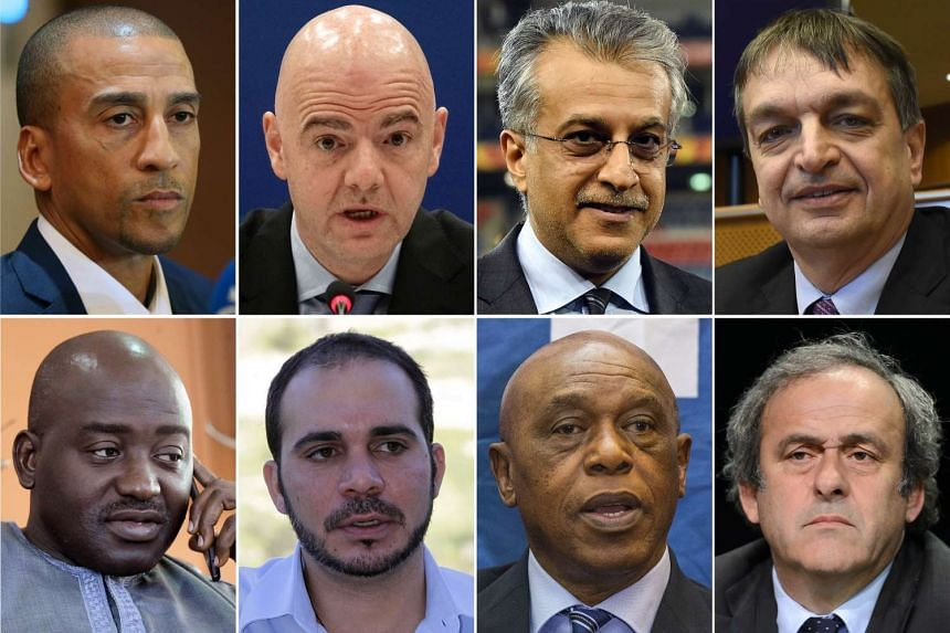 Official candidates for the FIFA presidency from top left: former Trinidad and Tobago's football player David Nakhid, UEFA secretary general Gianni Infantino, AFC President Shaikh Salman bin Ebrahim Al Khalifa, former FIFA deputy general secretary Je