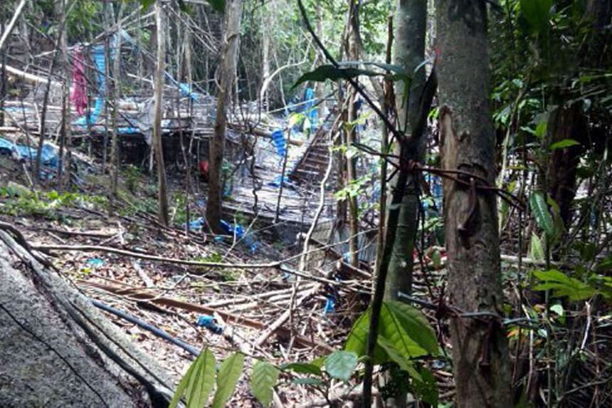 A camp site in Wang Burma at the Malaysia-Thailand border outside Wang Kelian, which was believed to have been used by people-smuggling syndicates to move large numbers of impoverished Rohingya out of Myanmar.