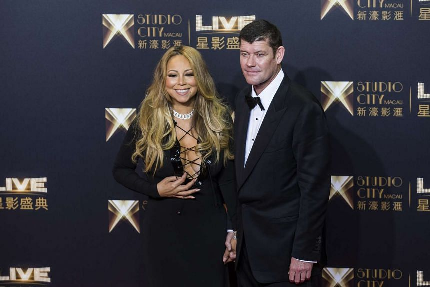 Mariah Carey and James Packer at the red carpet event prior to the opening ceremony of Studio City casino resort in Macau, China, on Oct 27, 2015.