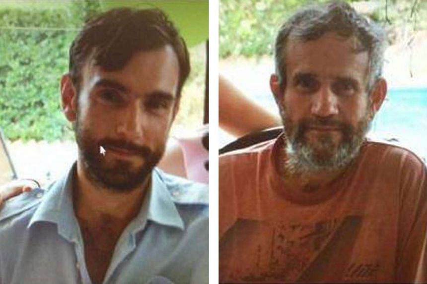 A combination image of two photos released by New South Wales Police shows Mark Stocco (left) and his father Gino Stocco (right), two of Australia's most wanted men, who were caught on Oct 28, 2015.