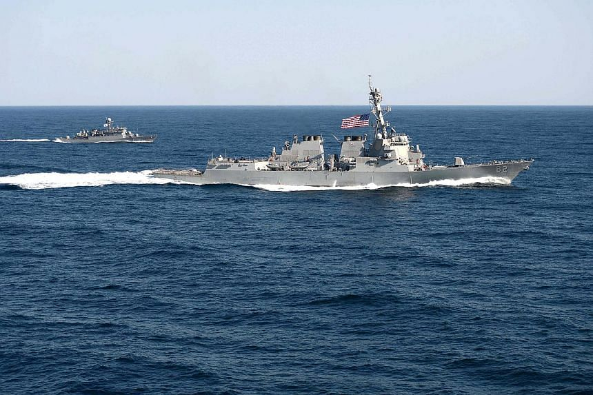 The USS Lassen (right) with a Republic of Korea Navy ship during an exercise east of the Korean Peninsula in March.