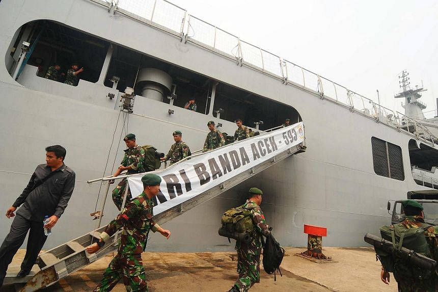 An Indonesian warship docked in Banjarmasin's Port of Trisakti in South Kalimantan, Indonesia, on Oct 26, 2015.