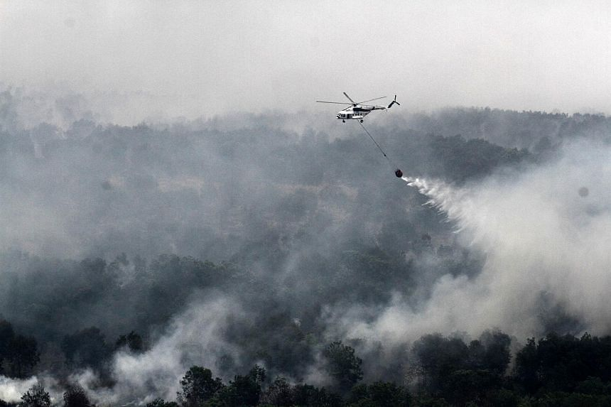 An Indonesian national board for disaster management MI-17 helicopter water-bombs a fire spot over Ogan Komering Ilir area, in South Sumatra province, on Oct 17, 2015.
