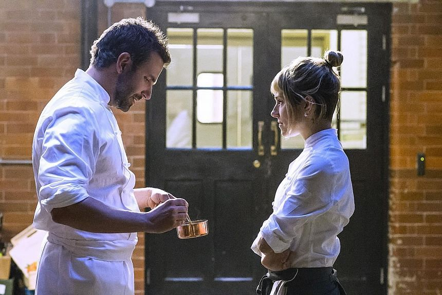 Bradley Cooper is a chef who tries to make good again and his love interest is Sienna Miller (both above).