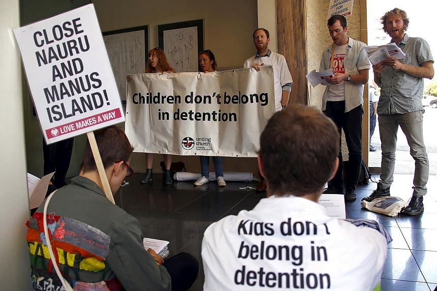 Protesters at Australian Prime Minister Malcolm Turnbull's electoral office earlier this month demanding an end to the policy of offshore detention of asylum seekers.