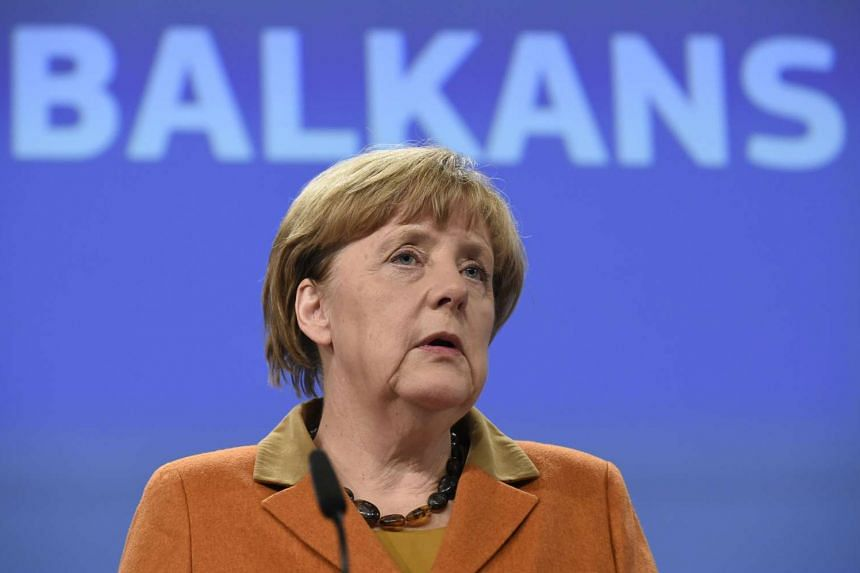 German Chancellor Angela Merkel gives a press conference during the EU-Balkans mini European Summit, on Oct 25, 2015 at the EU Headquarters in Brussels.
