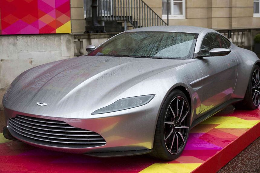 An Aston Martin DB10 is displayed in London on Oct 21, 2015.