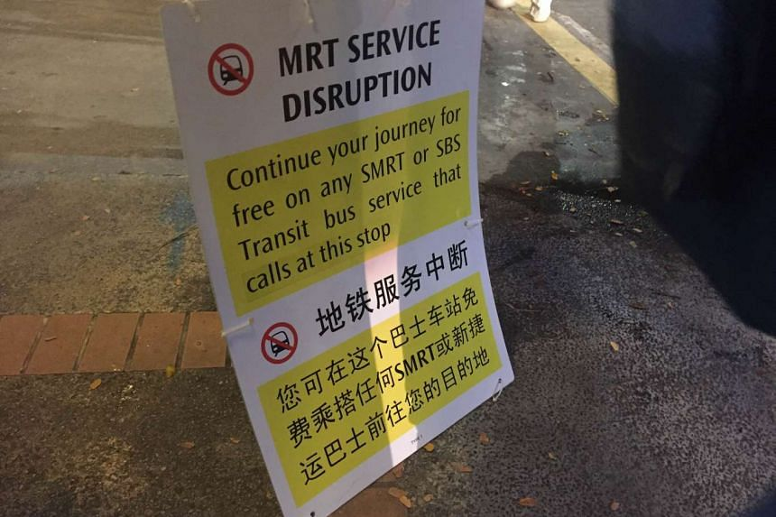 A notice at Braddell station informing train commuters of free bus services for passengers, after the North-South line was affected by a train fault, on Oct 28, 2015.