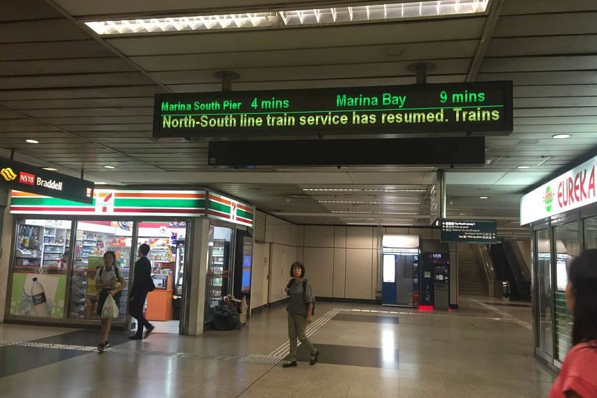 A notice telling commuters that train services on the North-South Line have resumed, on Oct 28, 2015.