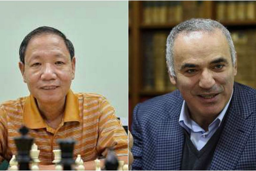 Ignatius Leong (left) and former world champion Garry Kasparov have been banned from the World Chess Federation (Fide) for two years, following a vote-buying controversy.