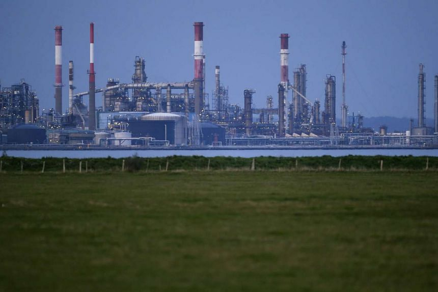 A general view shows the French oil giant Total refinery of Donges, western France, on Oct 26, 2015.