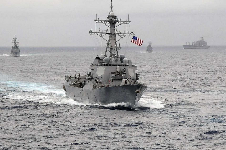 The US Navy guided-missile destroyer USS Lassen sails in the Pacific Ocean.