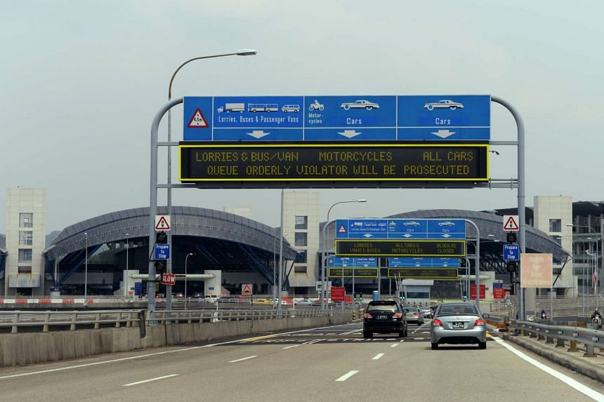 A checkpoint leading to Singapore on the Tuas Second Link.