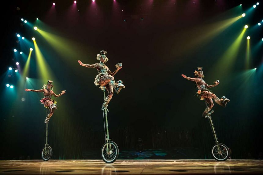 As Cirque puts it, Totem is a Darwinian-inspired piece about the evolution of man from amphibian to flight.