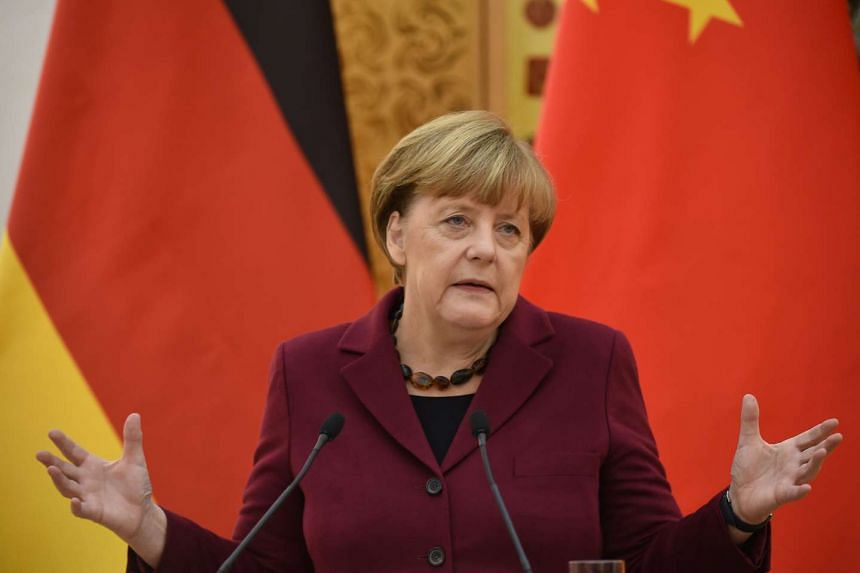 German Chancellor Angela Merkel on Thursday (Oct 29) urged China to resolve territorial tensions over the South China Sea.