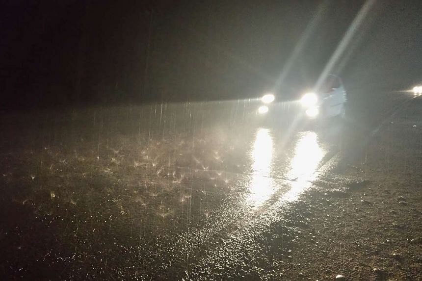 Rain falls on a road in Indonesia's Ogan Komering Ilir regency in South Sumatra on Thu (Oct 29). The regency, one of the areas badly hit by the country's forest fires, saw a brief spell of heavy rain, bringing a respite from the choking haze. -