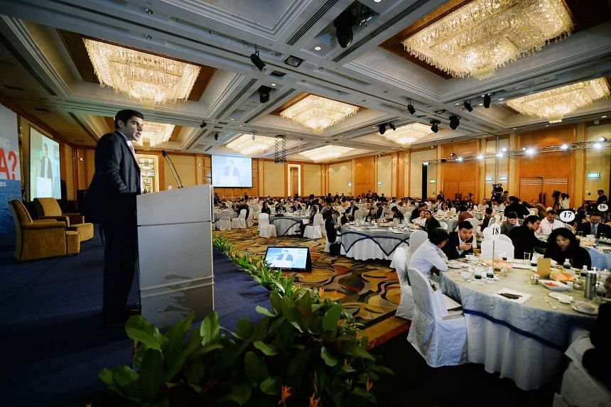 Dr Parag Khanna, director of the Hybrid Reality Institute and senior fellow at the Singapore Institute of International Affairs, giving a talk on US megatrends and how they could affect Asia at the ST Global Outlook Forum at the Shangri-La hotel yest