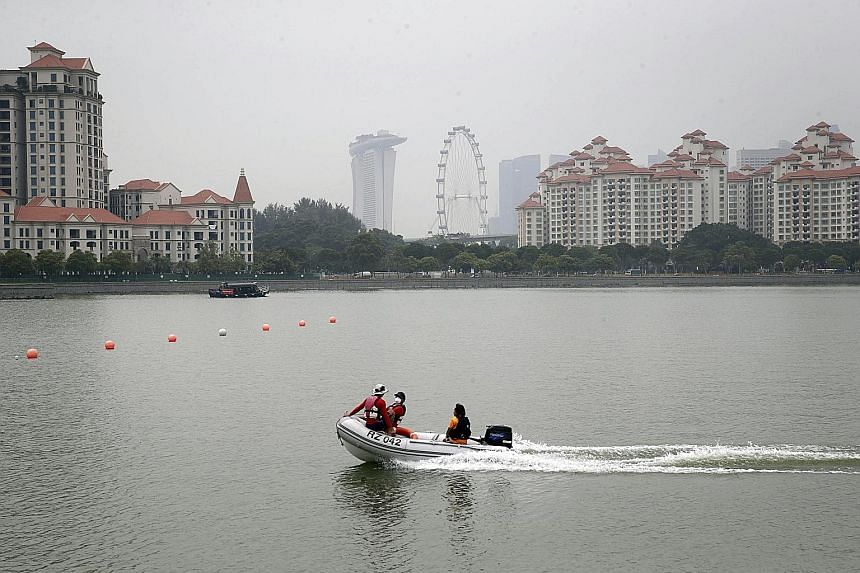 The view from Kallang River at 12.30pm yesterday, after early morning showers brought an improvement to haze and visibility conditions.