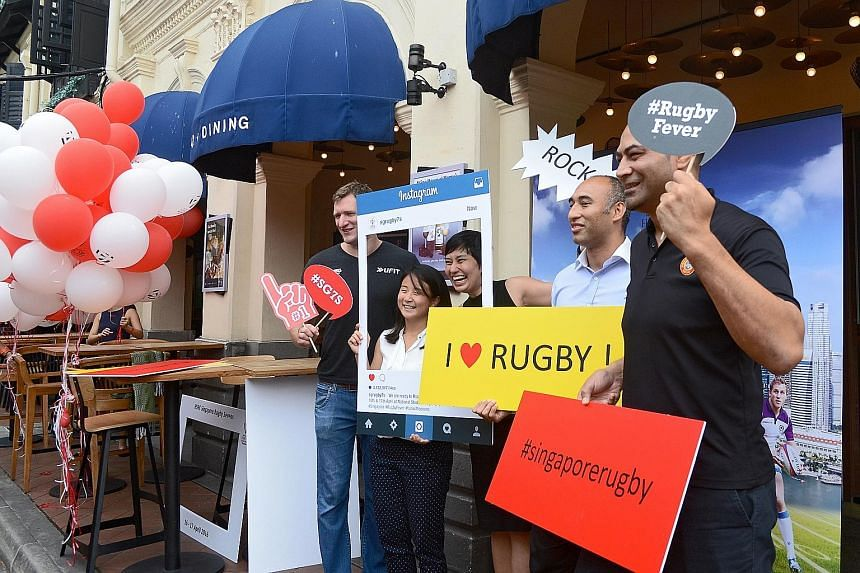 (From left): Former England international James Forrester, Singapore women's rugby team captain Samantha Tan, Rugby Singapore general manager Stephanie Wong, Singapore men's rugby team captain Daniel Marc Chow and Singapore Rugby Union technical dire