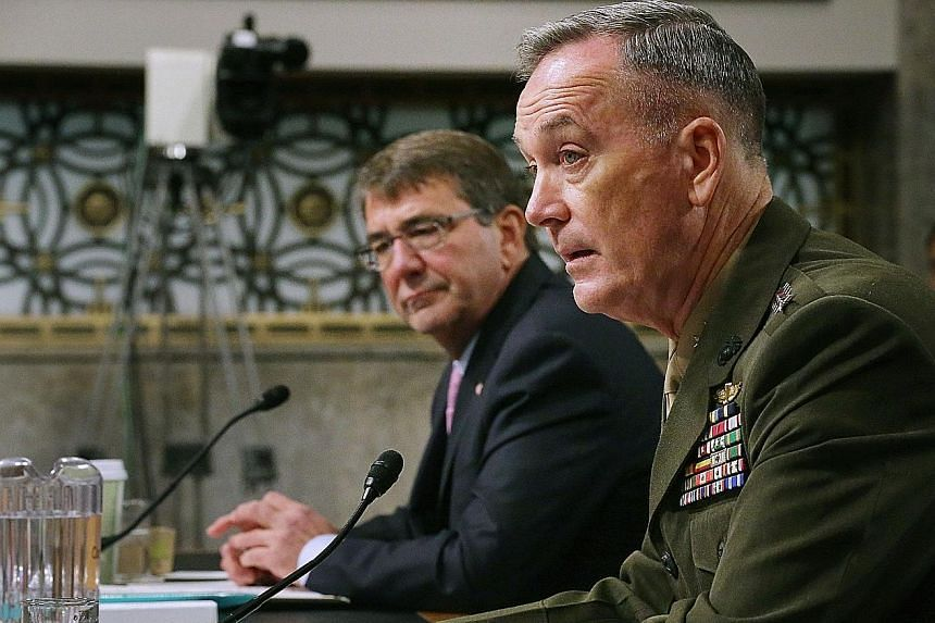 Defence Secretary Ashton Carter (far left) and Joint Chiefs of Staff chairman Joseph Dunford Jr, testifying before the Senate Armed Services Committee on Tuesday about the US military strategy in the Middle East.