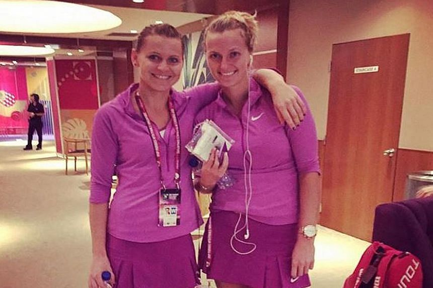 Can you tell them apart? Czech players Lucie Safarova and Petra Kvitova are both left-handers and even wore identical outfits yesterday.