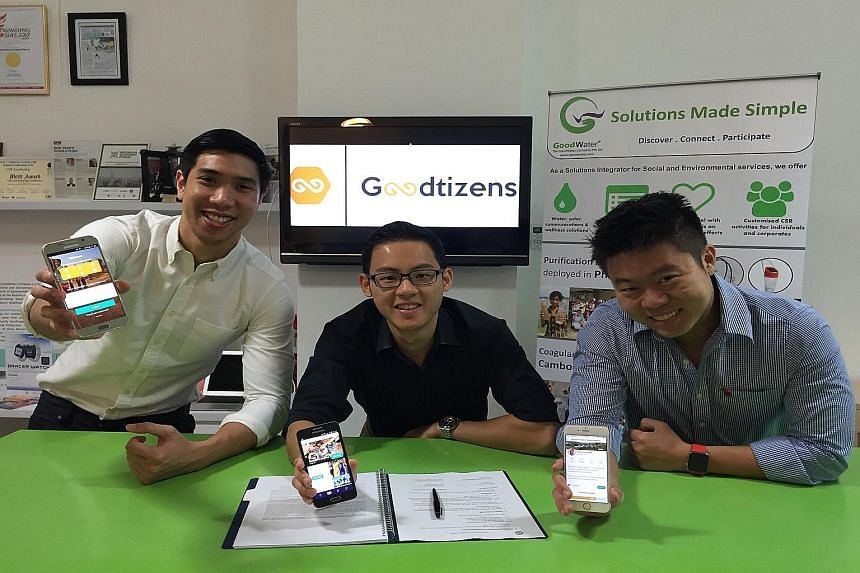StartNow co-founders Keith Tan (left) and Ivan Chang with Goodtizens CEO Darren Yong. StartNow provides software for non-profit and governmental organisations.