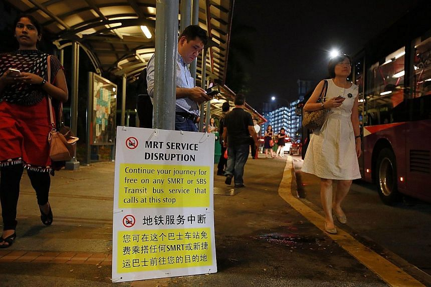 Passengers at a bus stop in Braddell yesterday. Free bus services were available between Marina South Pier and Ang Mo Kio.