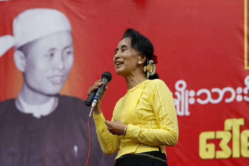 Myanmar pro-democracy leader Aung San Suu Kyi speaking at a rally in her constituency, Kawhmu township, on Oct 24, 2015.