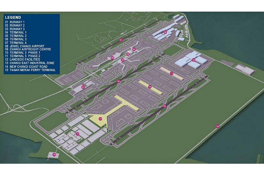 The concept plan for Changi Airport's Terminal 5.