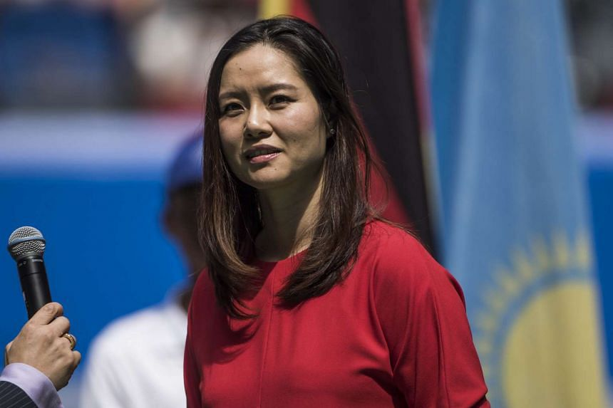 Former tennis player Li Na of China at the opening ceremony of the Wuhan Open tennis tournament on Sept 27, 2015.