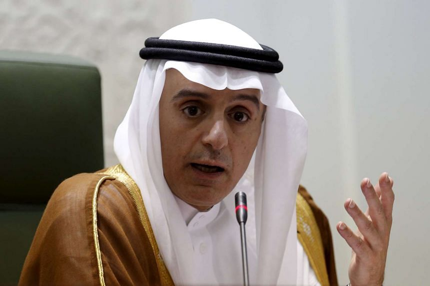 Saudi Foreign Minister Adel al-Jubeir gestures during a joint news conference with his British counterpart Philip Hammond (not seen) in Riyadh on Wednesday.