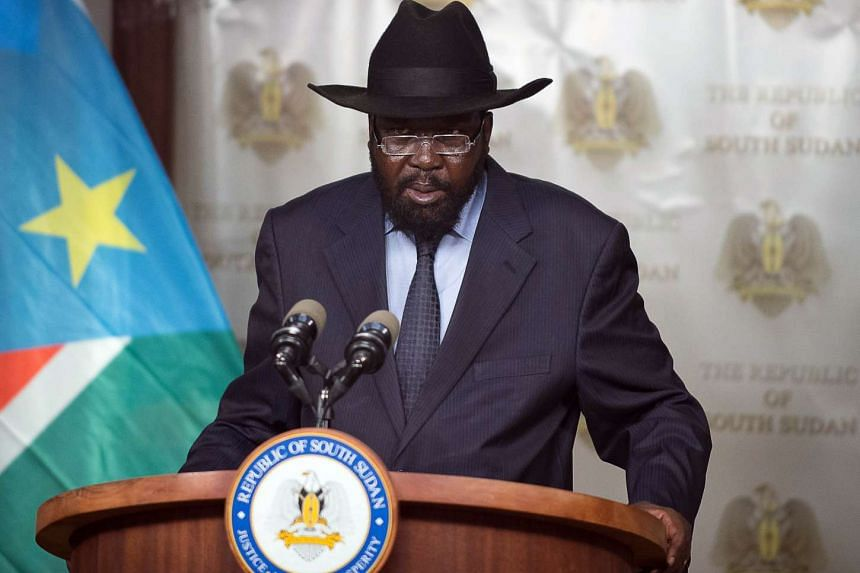 The President of South Sudan Salva Kiir, addresses the nation from the State House on Sept 15, 2015, in Juba.