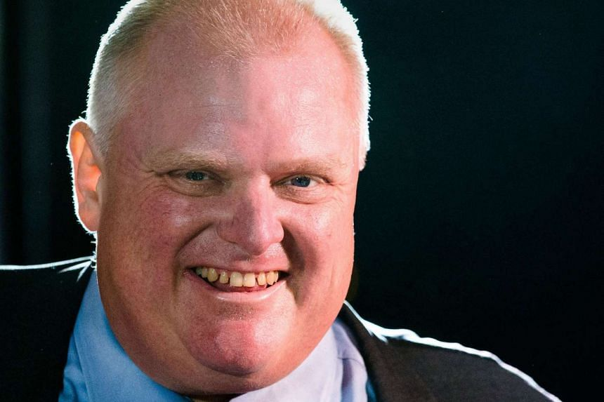 Toronto Mayor Rob Ford smiles during his first appearance since being released from the hospital where he was undergoing cancer treatment .