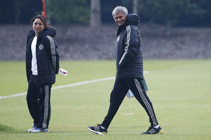 Chelsea's manager Jose Mourinho (right) and team doctor Eva Carneiro attend a training session at Cobham.