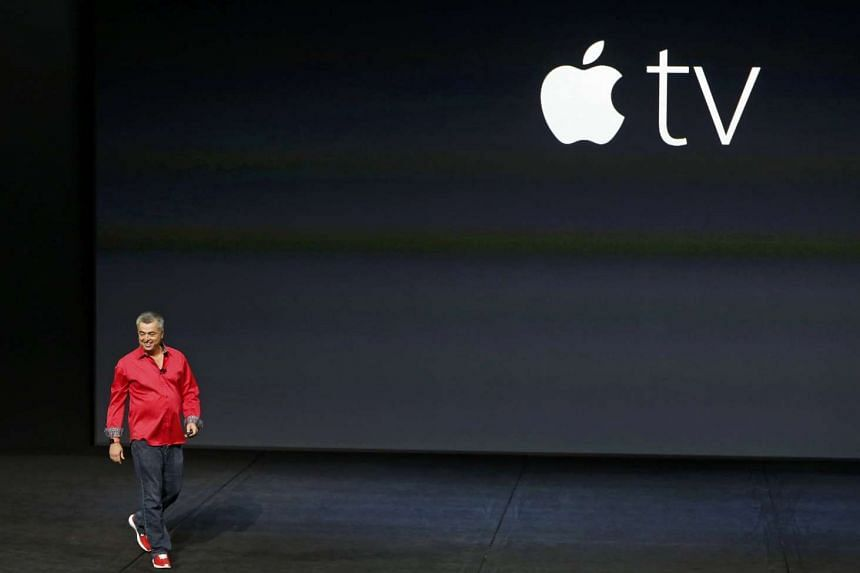 Mr Eddie Cue, Apple's senior vice president of Internet Software and Services, takes the stage to discuss Apple TV during an Apple media event in San Francisco, California on Sept 9, 2015.