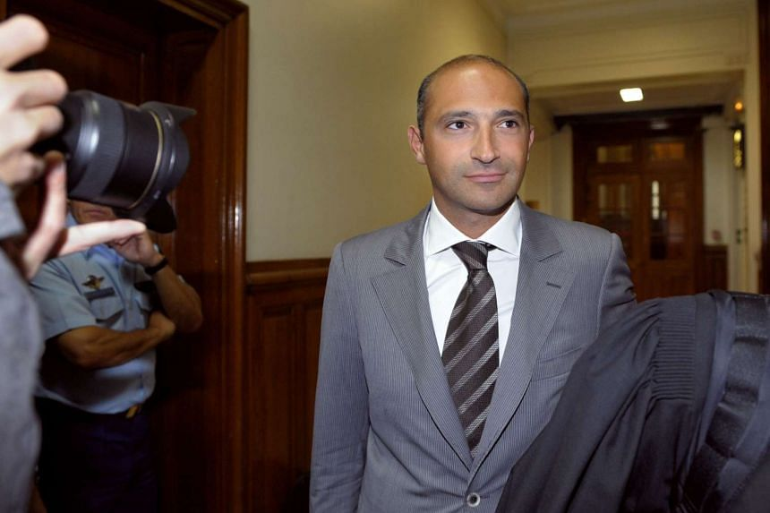 A June 1, 2011 photo shows Thomas Fabius, son of former French prime minister Laurent Fabius, arriving at a Paris courthouse.