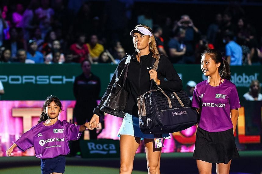 Six-year-old Samantha Mikaella is one of the player mascots at the WTA Finals in Singapore this week, where she had a chance to walk out with Maria Sharapova on Tuesday.