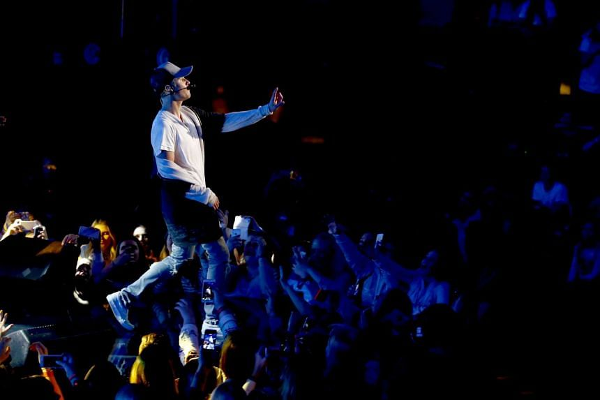 Singer Justin Bieber performs on stage during a mini concert in Oslo, Oct 29, 2015.