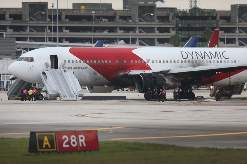 The Venezuela-bound Dynamic International Airways Boeing 767 that caught fire on the runway at Fort Lauderdale-Hollywood International Airport on Oct 29, 2015.