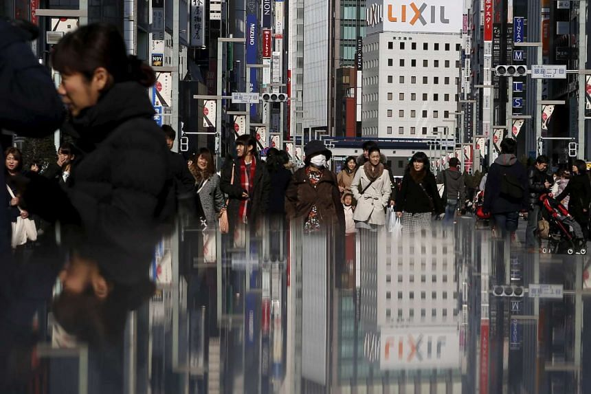 People at Tokyo's Ginza shopping district on Feb 15, 2015.