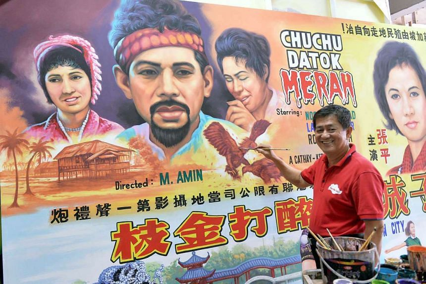 Mr Ang Hao Sai, a movie poster painter, who painted the poster of the Malay classic movie 'Chuchu Datok Merah'.