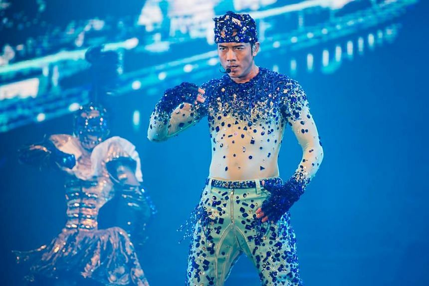 Aaron Kwok performing at the Aaron Kwok De Showy Masquerade World Tour Live in Singapore 2015.