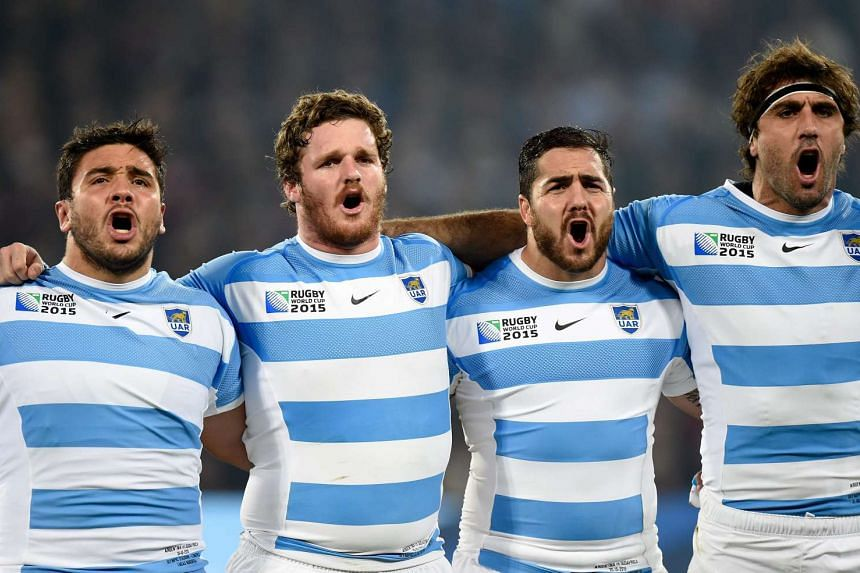 Argentina's players sing their national anthem during the Rugby World Cup 2015 Bronze final match.