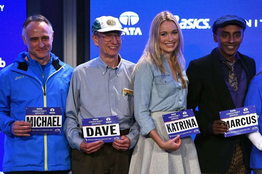 """A posed shot of NYRR President and CEO Michael Capiraso , Dave Obelkevich, the TCS New York City Marathon's longest """"streaker"""" who will be running his 40th consecutive TCS New York City Marathon, Katrina Bowden, an actress currently starring in"""