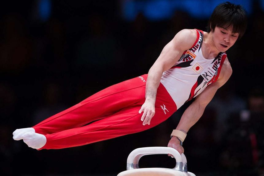 Kohei Uchimura of Japan performs on the pommel horse during the men's all-around finals on day eight at the 46th FIG Artistic Gymnastics World Championships.