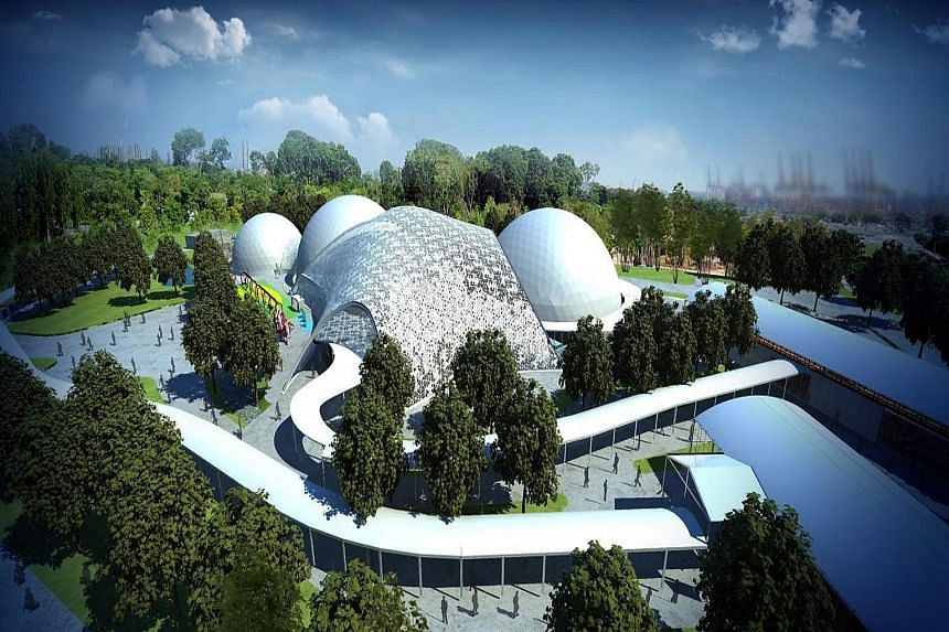 The lattice pattern of a structure (above) for the Future Of Us show evokes the effect of sunlight coming through trees. (Above left) An artist's impression of the structure.