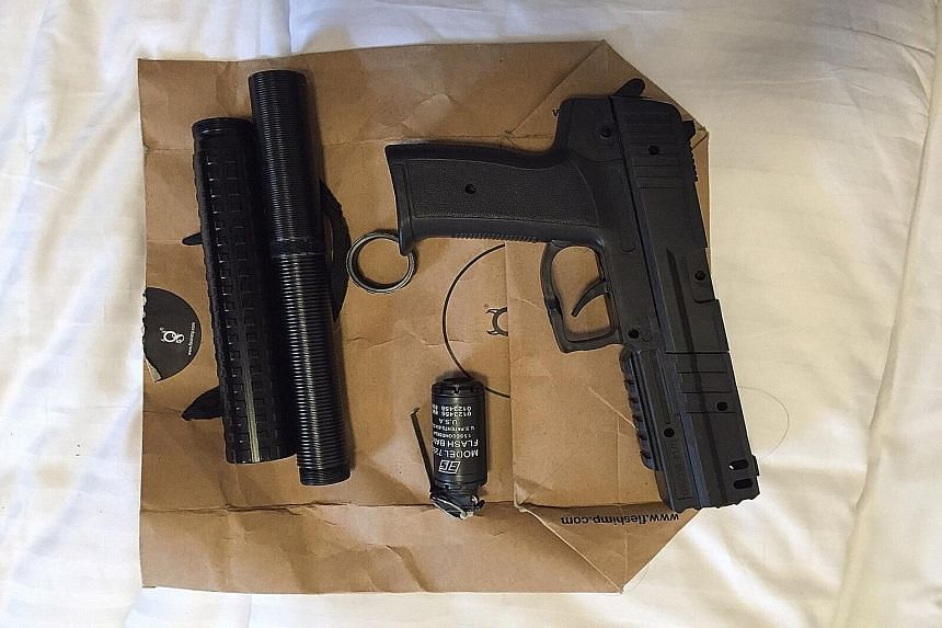 A replica gun was recovered on Thursday when CNB officers raided an Orange Grove Road apartment suspected to be serving as a store for illegal drugs.