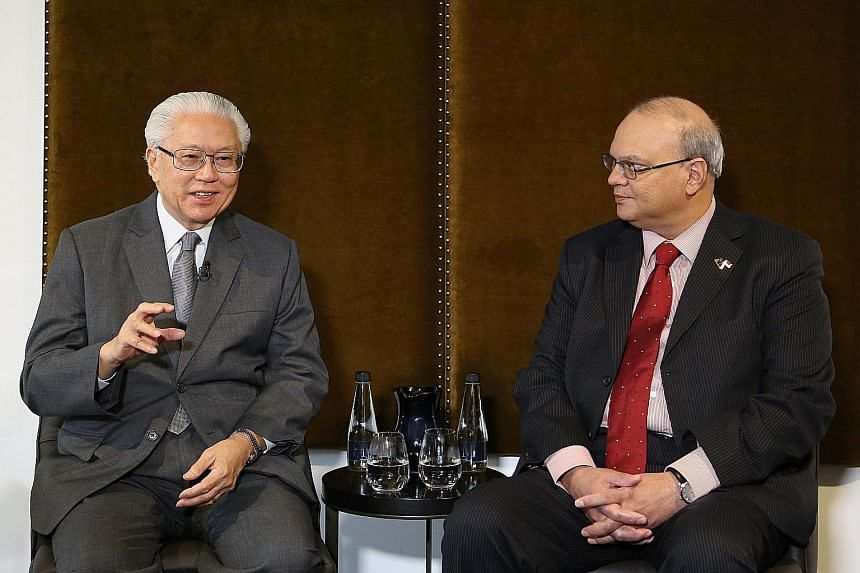President Tony Tan Keng Yam, during an interview with Singapore journalists yesterday. With him is Singapore's High Commissioner to New Zealand Bernard Baker.